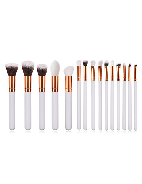 Fashion White Round Shape Decorated Makeup Brush(15 Pcs)