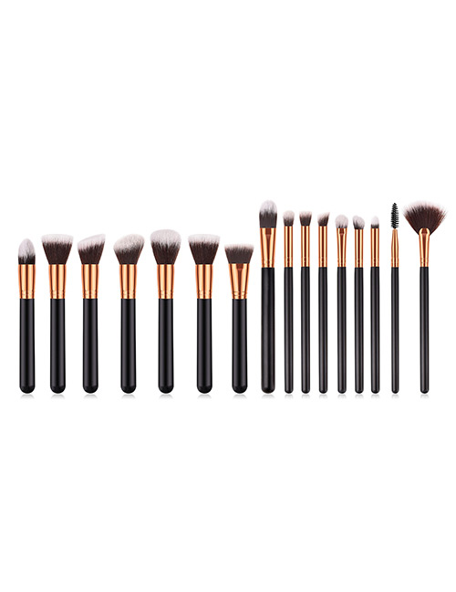 Fashion Black Round Shape Decorated Makeup Brush(16 Pcs)