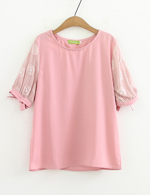 Fashion Pink Pearl Decorated Shirt