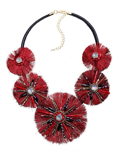 Fashion Red Tassel&bead Decorated Necklace