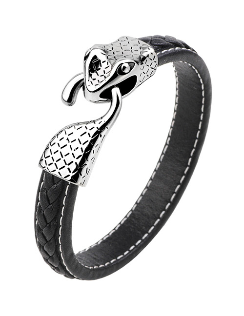 Fashion Silver Color+black Snake Shape Decorated Bracelet