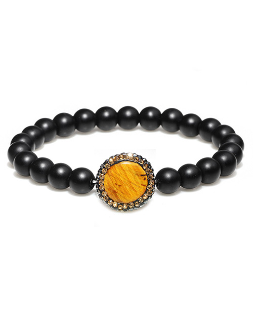 Fashion Black+yellow Round Shape Decorated Bracelet