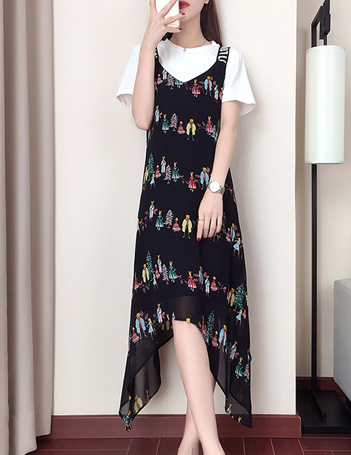 Fashion Black Star Pattern Decorated Dress
