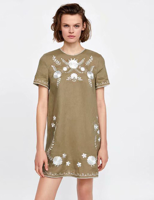 Fashion Olive Green Flower Pattern Decorated Dress