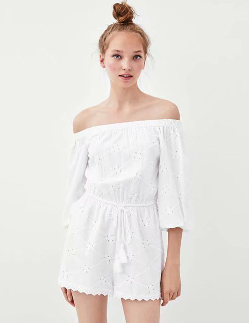 Fashion White Tassel Decorated Off Shoulder Jumpsuit