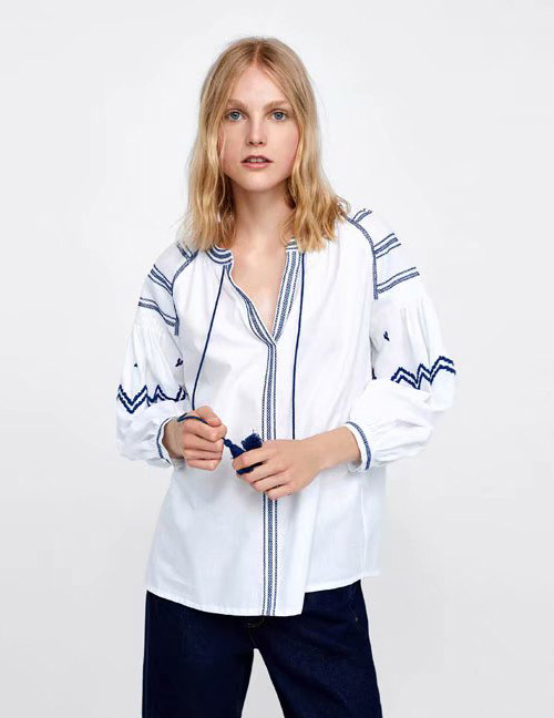 Fashion White+blue Stripe Pattern Decorated Shirt