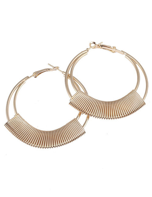 Vintage Gold Color Round Shape Decorated Earrings