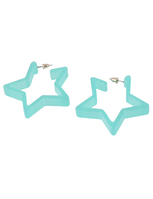 Fashion Blue Star Shape Decorated Earrings