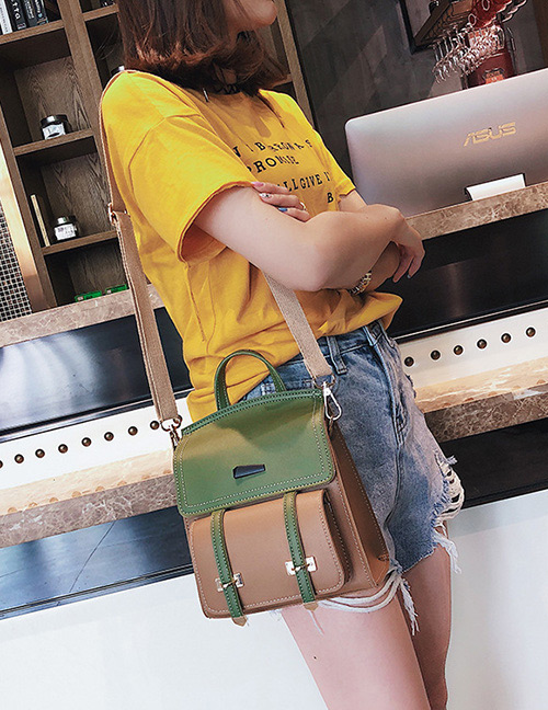 Fashion Green Color Matching Decorated Backpack