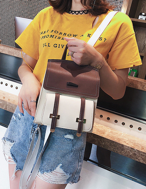 Fashion Coffee Color Matching Decorated Backpack