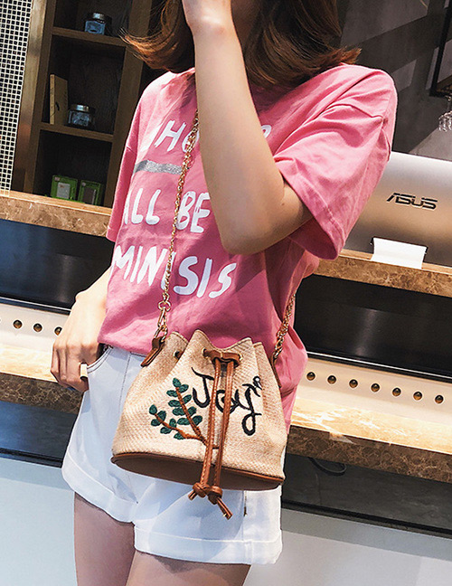 Fashion Khaki Letter Pattern Decorated Shoulder Bag