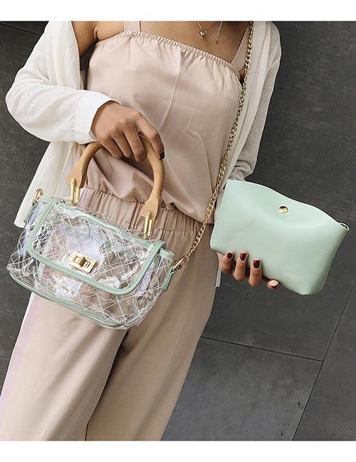 Fashion Green Square Shape Decorated Shoulder Bag (2 Pcs)