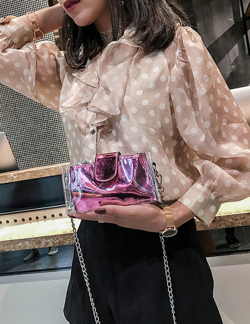 Fashion Pink Chain Decorated Pure Color Shoulder Bag