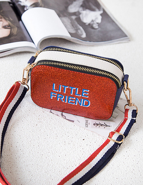 Fashion Red Double Zipper Decorated Shoulder Bag