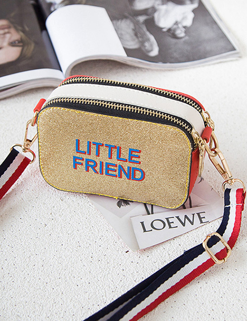 Fashion Gold Color Double Zipper Decorated Shoulder Bag