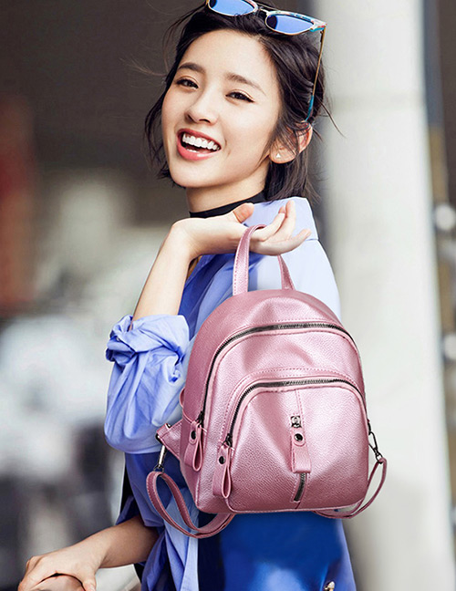 Fashion Pink Pure Color Decorated Travel Knapsack
