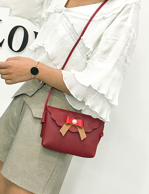 Fashion Red Bowknot Decorated Square Shape Shoulder Bag