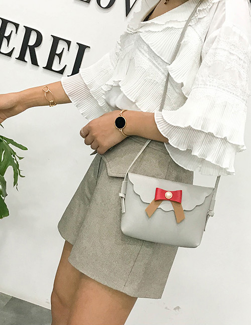 Fashion Gray Bowknot Decorated Square Shape Shoulder Bag