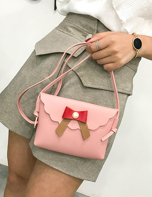 Fashion Pink Bowknot Decorated Square Shape Shoulder Bag
