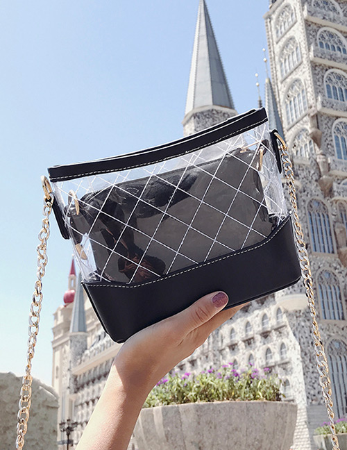 Fashion Black Grid Pattern Decorated Transparent Bag(2pcs)