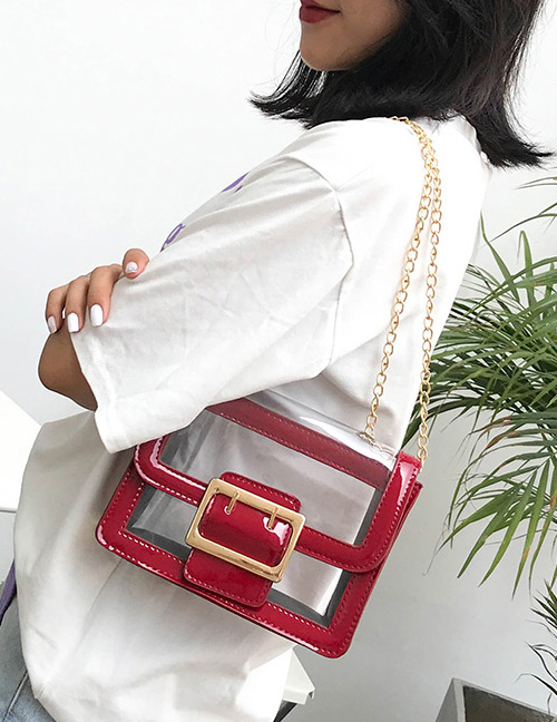 Fashion Red Square Shape Buckle Decorated Transparent Bag