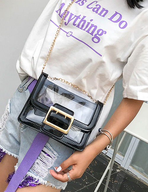 Fashion Black Square Shape Buckle Decorated Transparent Bag