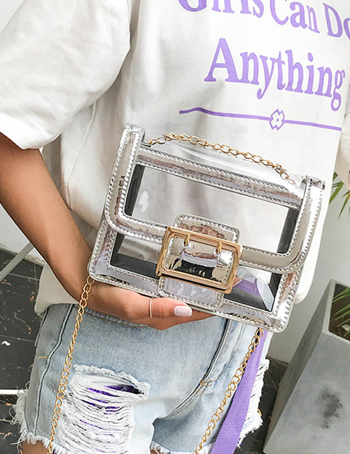 Fashion Silver Color Square Shape Buckle Decorated Transparent Bag