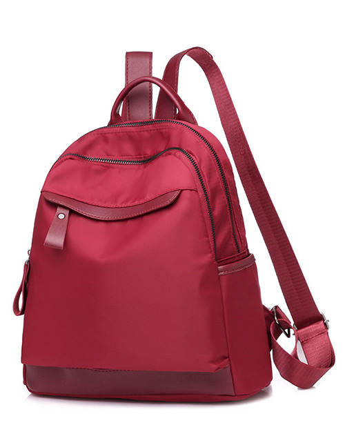 Fashion Red Pure Color Design Leisure Backpack