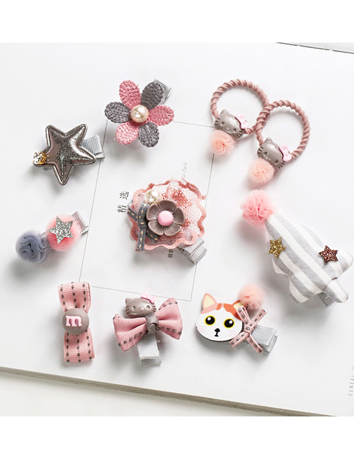 Fashion Pink Cat&flower Shape Decorated Hair Band (10 Pcs)