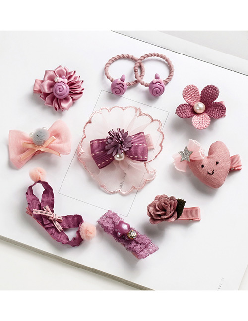 Fashion Pink Flower&bowknot Shape Decorated Hair Band (10 Pcs )