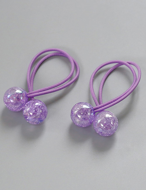 Fashion Purple Ball Shape Decorated Hair Band (2 Pcs )