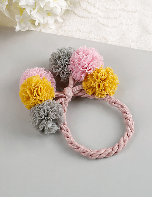 Fashion Gray+pink+yellow Flower Shape Decorated Hair Band