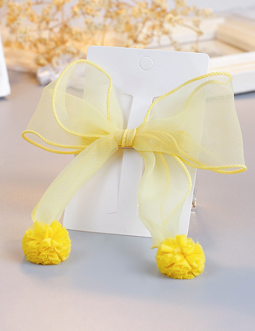 Fashion Yellow Pom Ball Decorated Pure Color Hair Clip