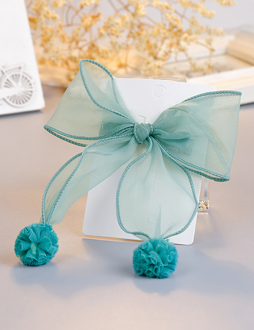Fashion Green Pom Ball Decorated Pure Color Hair Clip