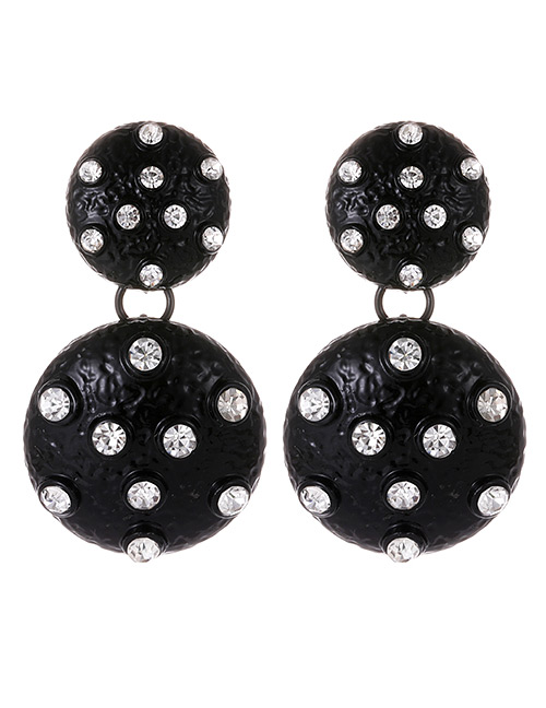 Fashion Black Ball Shape Decorated Earrings
