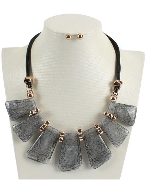 Fashion Gray Square Shape Decorated Necklace