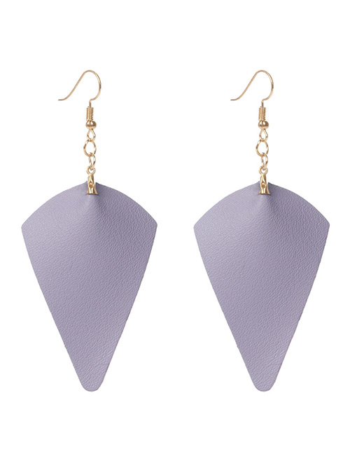 Simple Purple Pure Color Decorated Earrings