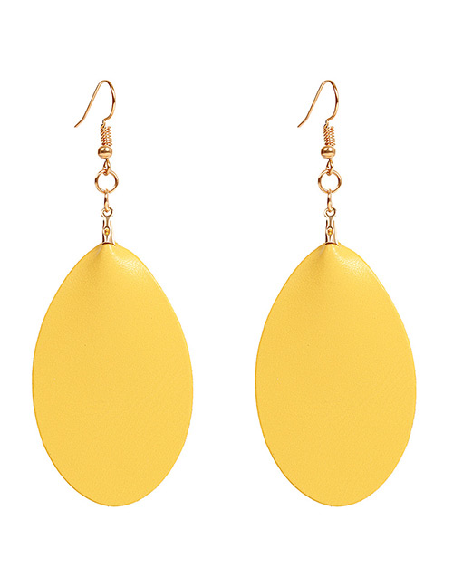 Simple Yellow Pure Color Decorated Earrings
