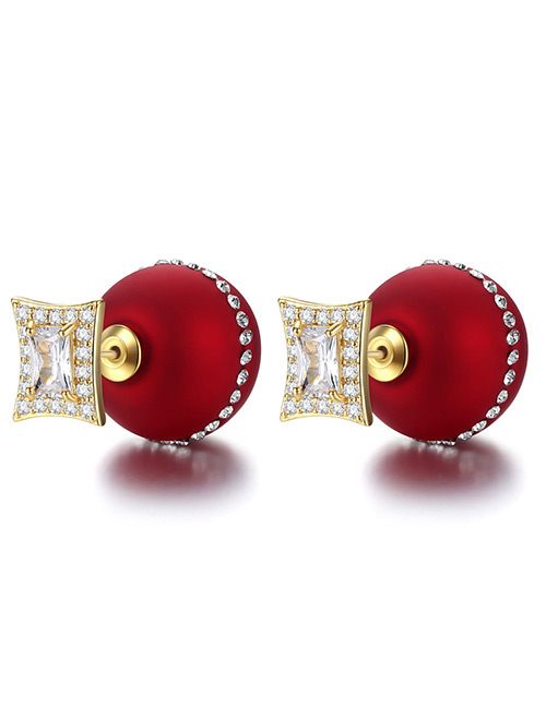 Fashion Red Pearl Decorated Pure Color Decorated