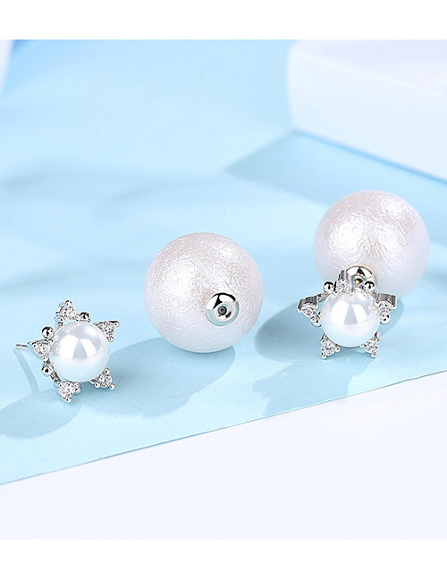 Fashion Silver Color+white Star Shape Decorated Earrings