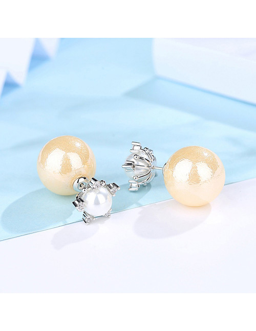 Fashion Beige+silver Color Star Shape Decorated Earrings
