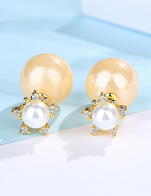 Fashion Beige+gold Color Star Shape Decorated Earrings