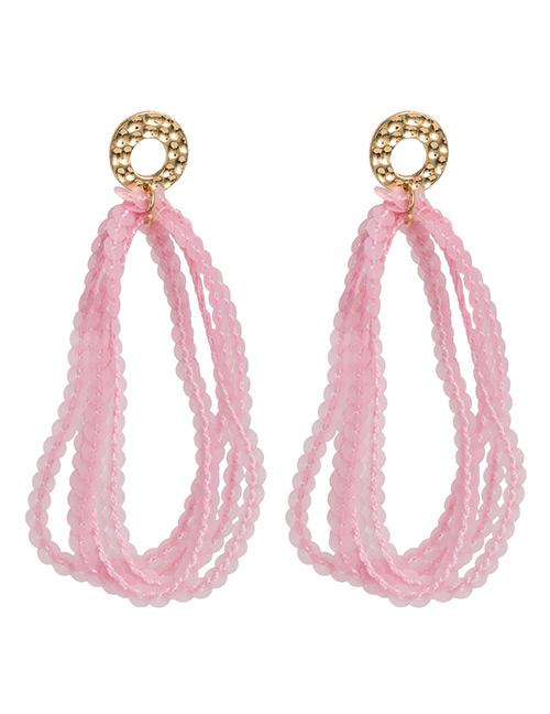 Elegant Pink Pure Color Design Multi-layer Earrings