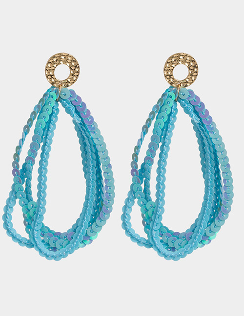 Elegant Blue Pure Color Design Multi-layer Earrings