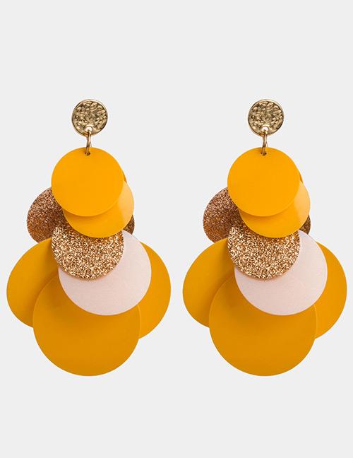 Elegant Yellow Round Shape Design Simple Earrings