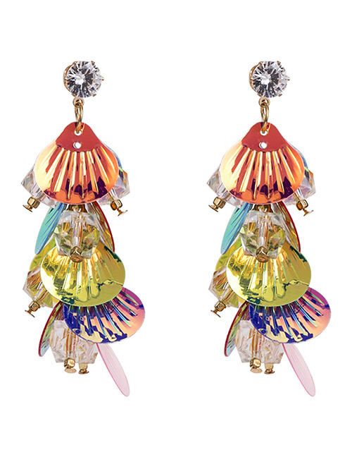 Elegant Multi-color Sector Shape Decorated Long Earrings