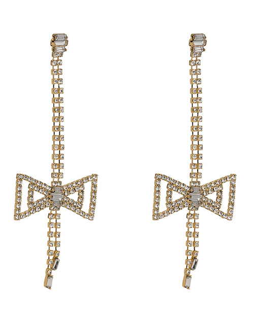 Elegant Gold Color Bowknot Shape Decorated Long Earrings