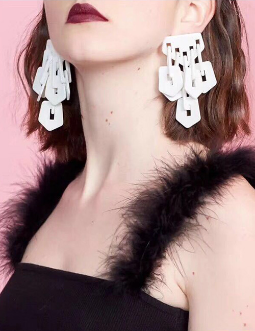 Elegant White Hollow Out Design Pure Color Earrings
