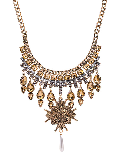 Elegant Gold Color Water Drop Shape Decorated Necklace