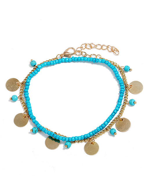 Elegant Gold Color Round Shape Decorated Double Layer Anklet